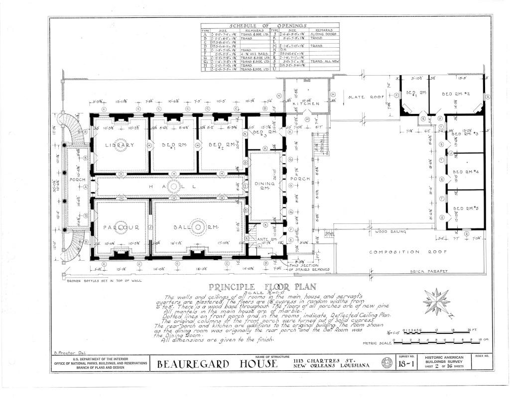 Floorplan of the Beauregard-Keyes House