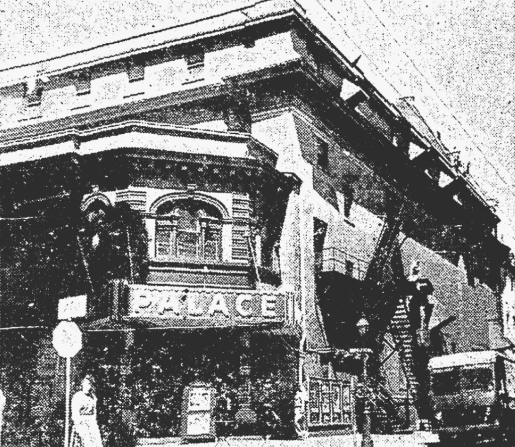 The Greenwall Theatre, rebranded the Palace, as photographed shortly before its demolition in the early 1960s.
