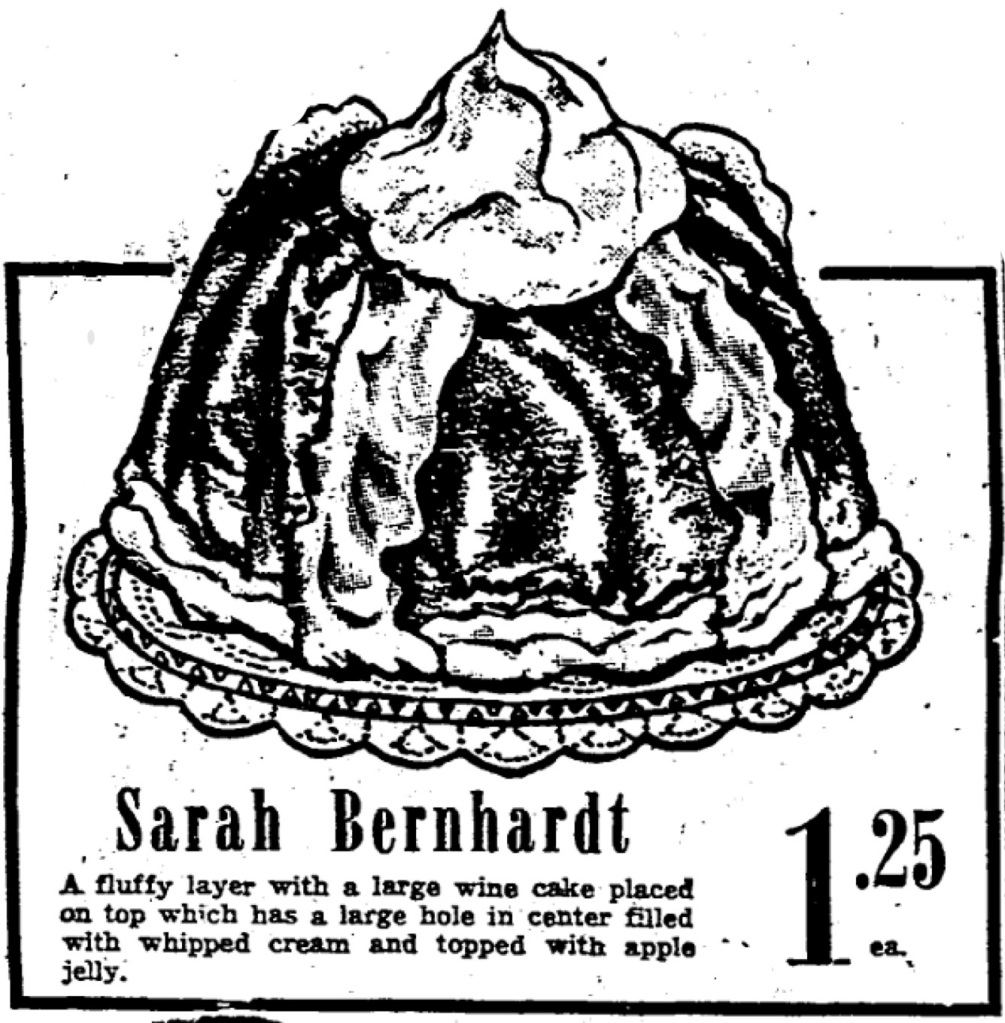 An image from an ad for a Sarah Bernhardt cake, as published in The Daily Picayune.